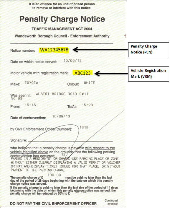 Example Penalty Charge Notice